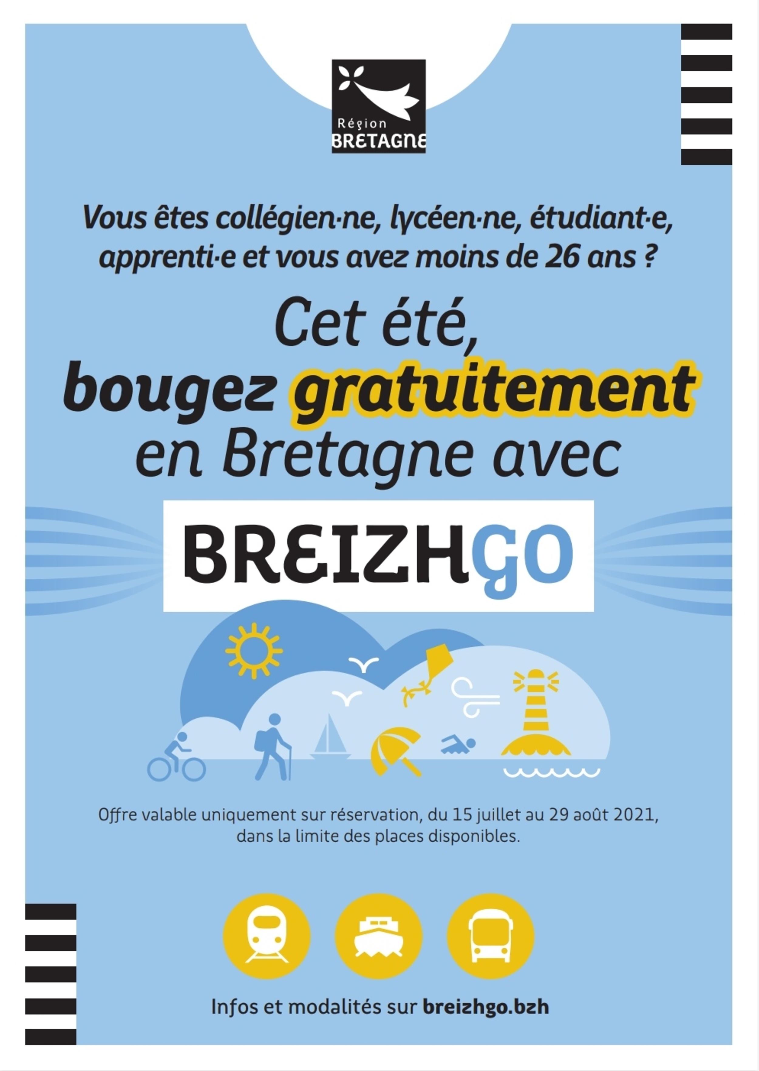 Voyagez gratuitement sur l'ensemble du réseau BreizhGo cet été!